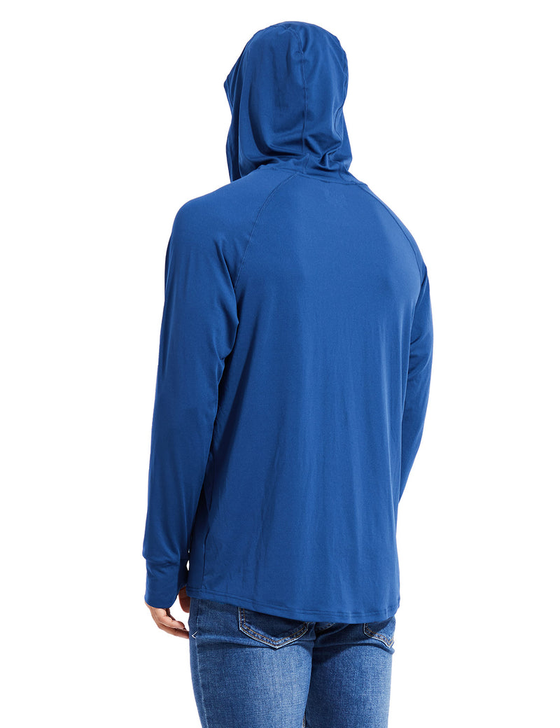 Baleaf Mens UPF 50+ Digital Printed Hooded Long Sleeved Shirt w Thumbholes Blue Back