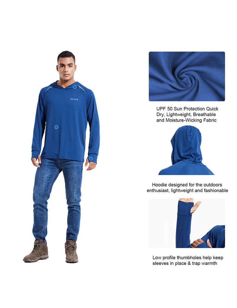 Baleaf Mens UPF 50+ Digital Printed Hooded Long Sleeved Shirt w Thumbholes Blue Details