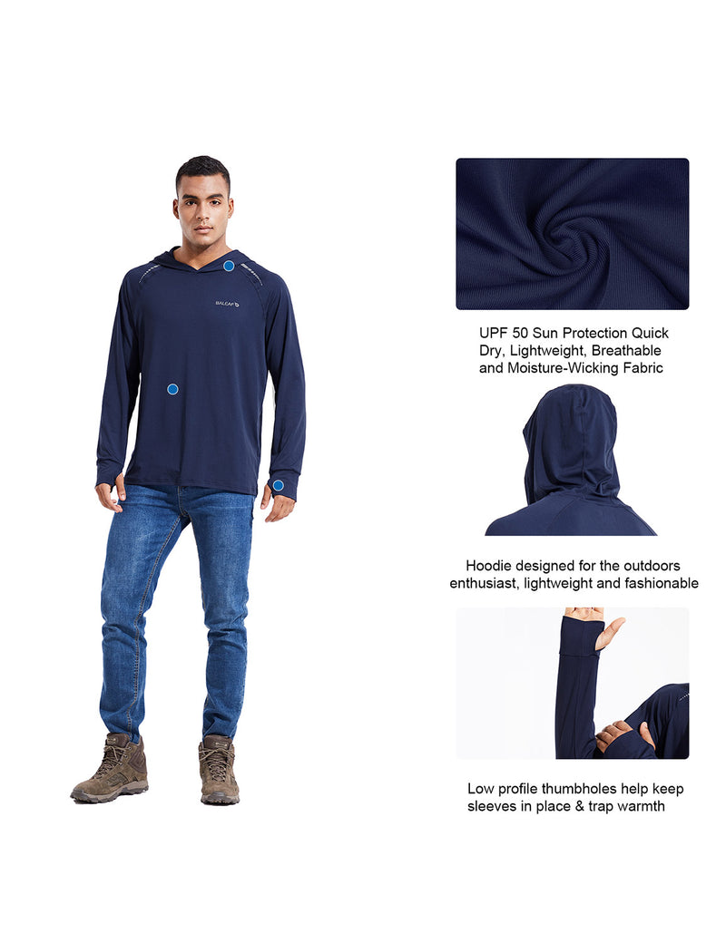 Baleaf Mens UPF 50+ Digital Printed Hooded Long Sleeved Shirt w Thumbholes Ocean Blue Details