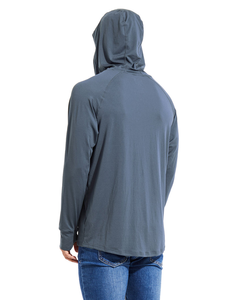 Baleaf Mens UPF 50+ Digital Printed Hooded Long Sleeved Shirt w Thumbholes Gray Back