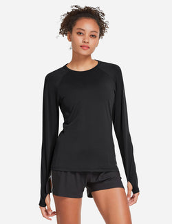Baleaf Womens UPF 50+ Quick Dry Crew-neck Tagless Long Sleeved Shirt w Thumbholes Black Front