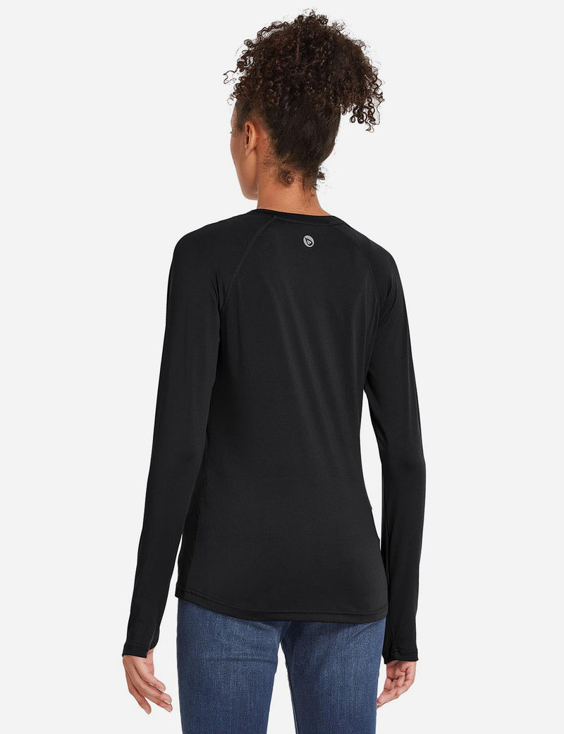 Baleaf Womens UPF 50+ Quick Dry Crew-neck Tagless Long Sleeved Shirt w Thumbholes Black Back