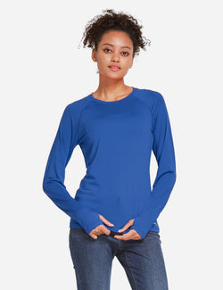 Baleaf Womens UPF 50+ Quick Dry Crew-neck Tagless Long Sleeved Shirt w Thumbholes Blue Front