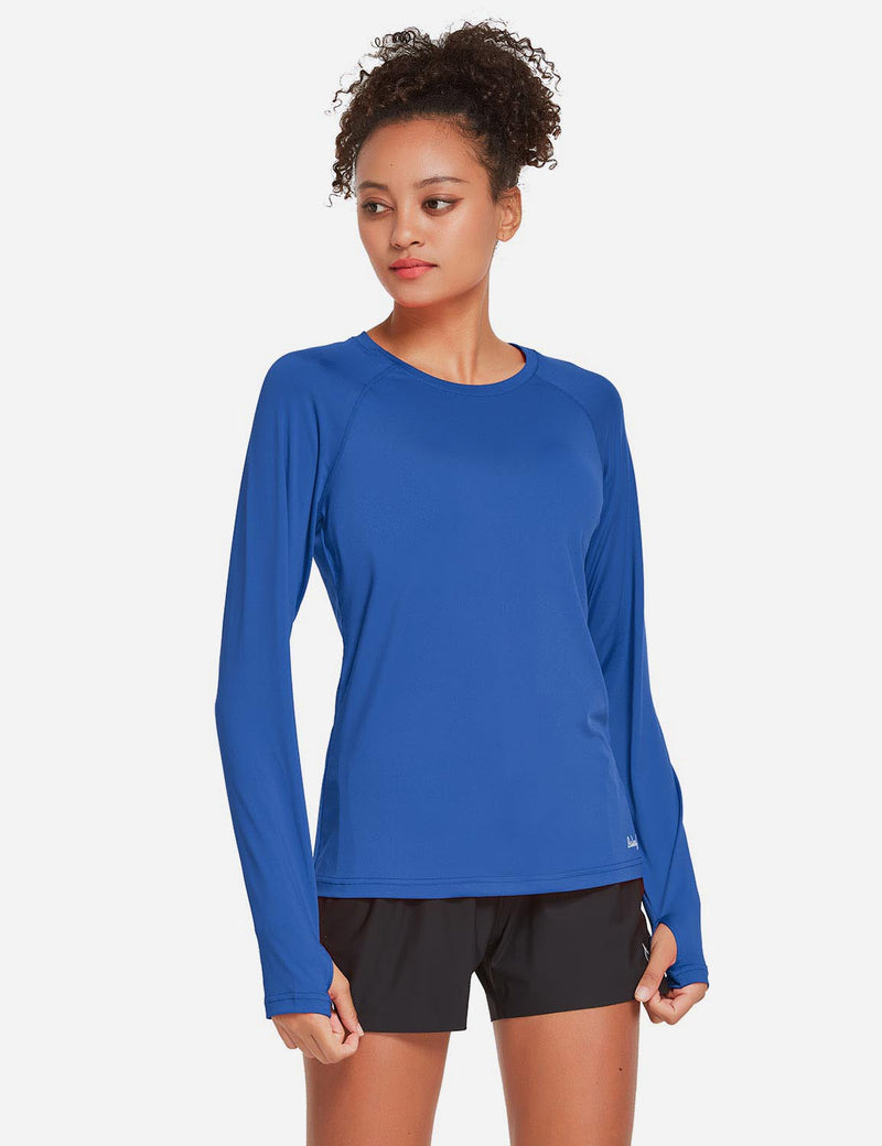 Baleaf Womens UPF 50+ Quick Dry Crew-neck Tagless Long Sleeved Shirt w Thumbholes Blue Side