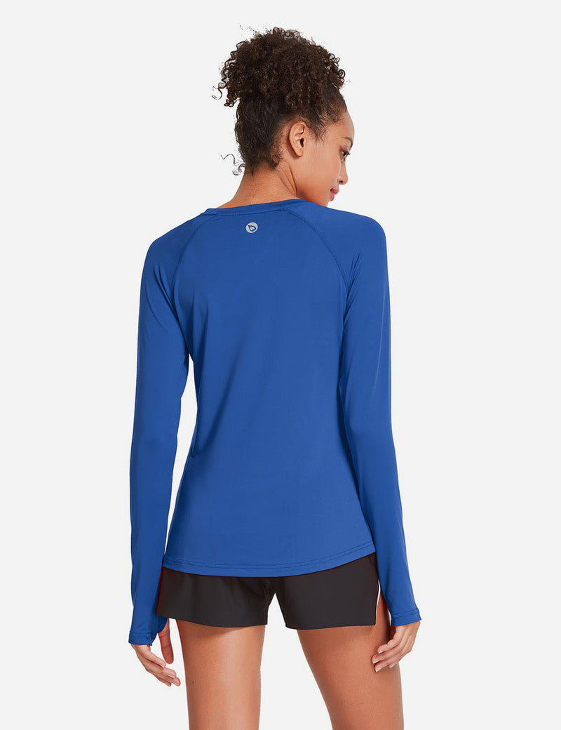 Baleaf Womens UPF 50+ Quick Dry Crew-neck Tagless Long Sleeved Shirt w Thumbholes Blue Back