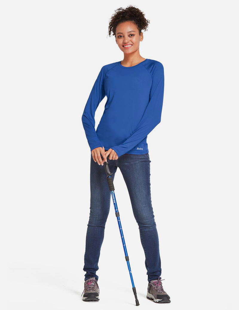 Baleaf Womens UPF 50+ Quick Dry Crew-neck Tagless Long Sleeved Shirt w Thumbholes Blue Full
