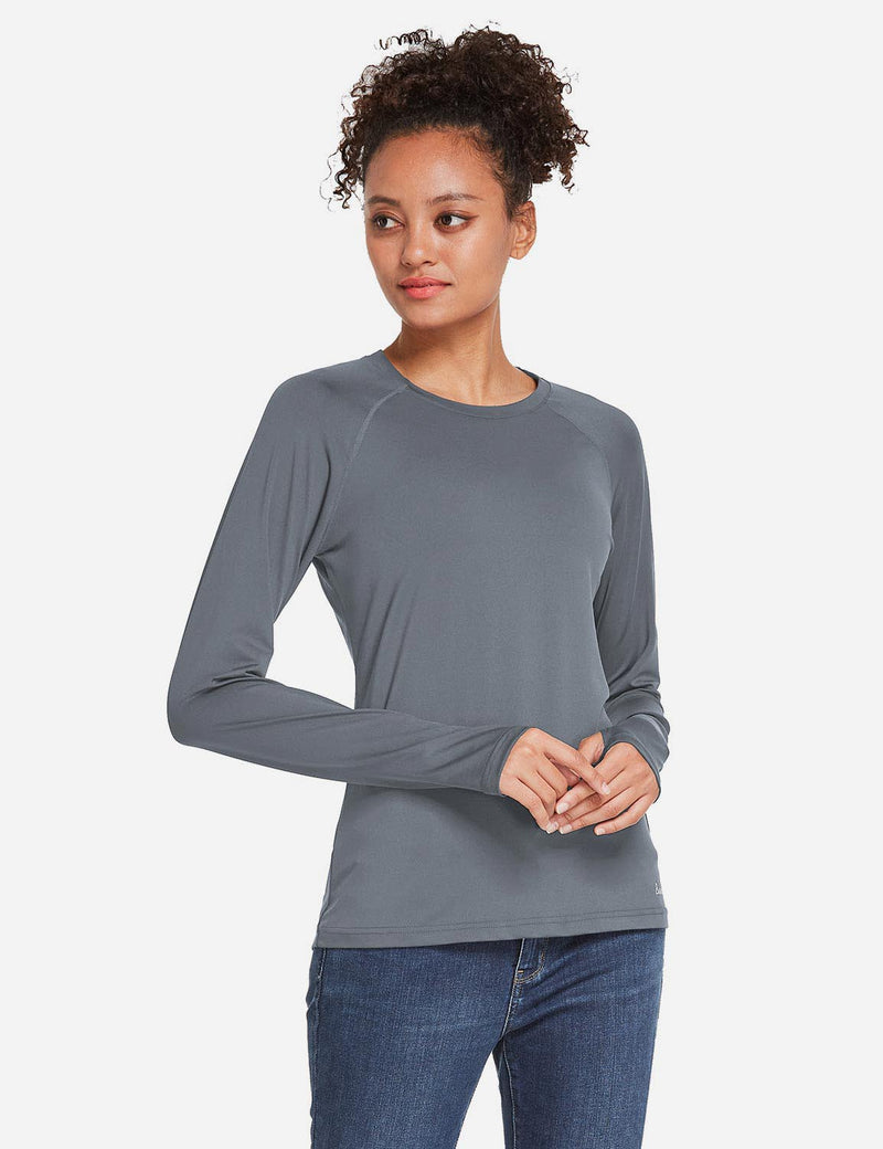 Baleaf Womens UPF 50+ Quick Dry Crew-neck Tagless Long Sleeved Shirt w Thumbholes Gray Side
