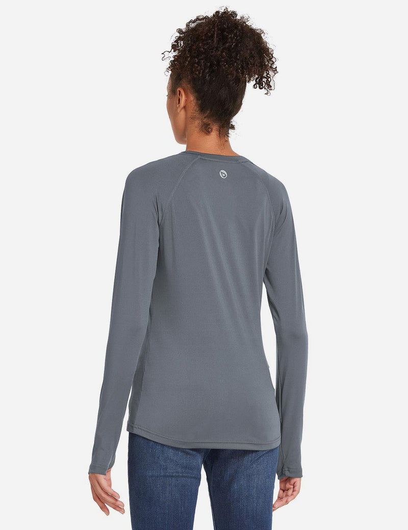 Baleaf Womens UPF 50+ Quick Dry Crew-neck Tagless Long Sleeved Shirt w Thumbholes Gray Back