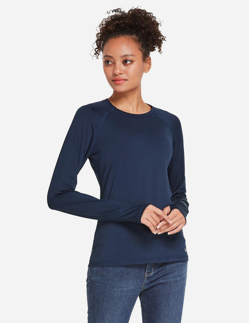 Baleaf Womens UPF 50+ Quick Dry Crew-neck Tagless Long Sleeved Shirt w Thumbholes Purplish Blue Side
