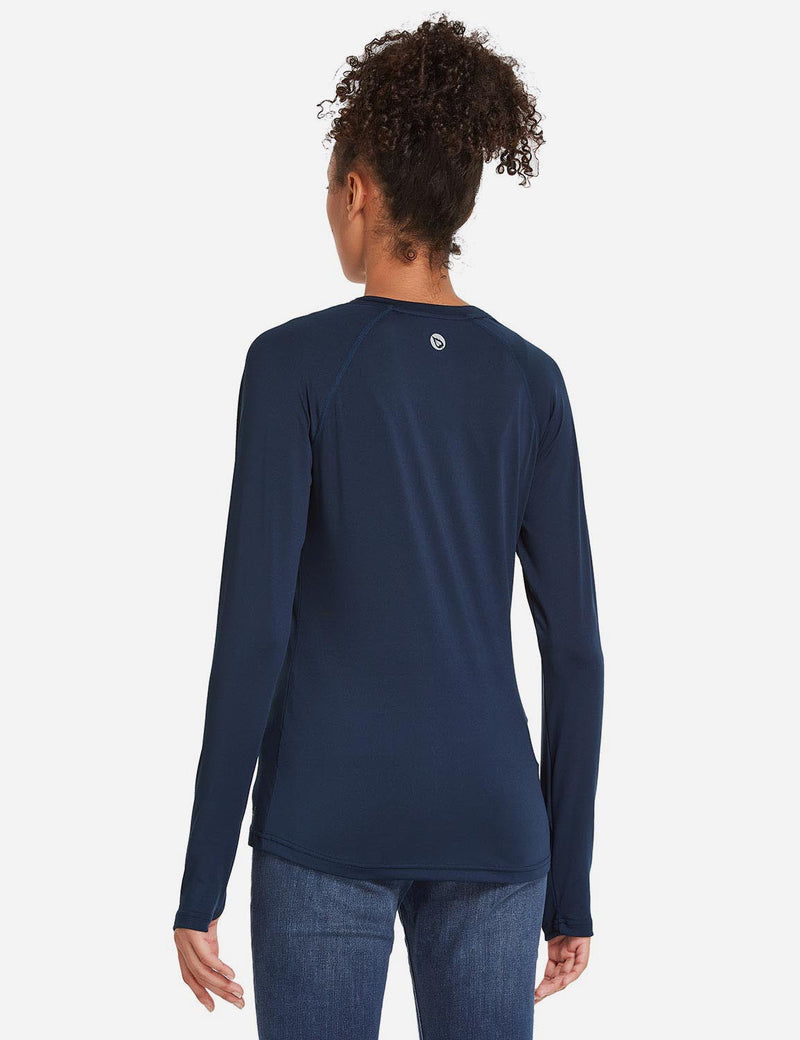 Baleaf Womens UPF 50+ Quick Dry Crew-neck Tagless Long Sleeved Shirt w Thumbholes Purplish Blue Back