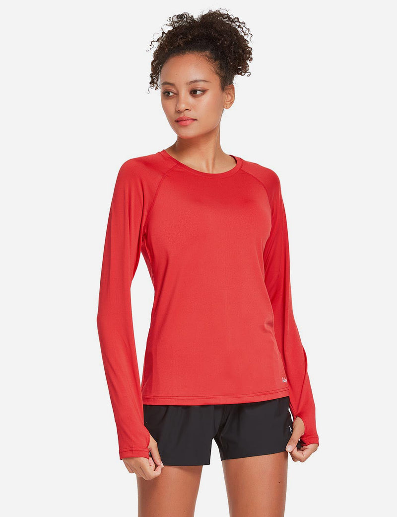 Baleaf Womens UPF 50+ Quick Dry Crew-neck Tagless Long Sleeved Shirt w Thumbholes Red Side