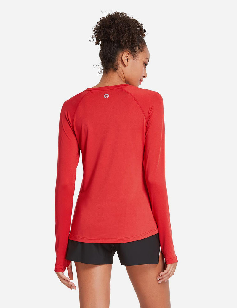 Baleaf Womens UPF 50+ Quick Dry Crew-neck Tagless Long Sleeved Shirt w Thumbholes Red Back
