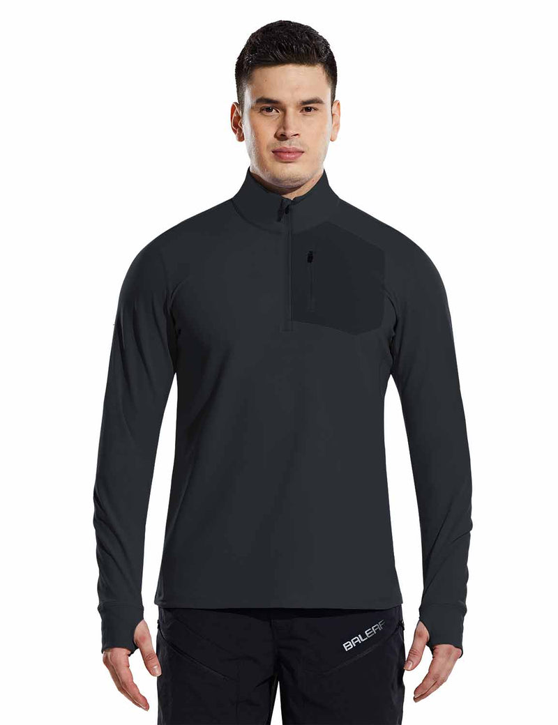 Baleaf Mens Windproof Micro Fleece High Neck 1/2 Zipper Pocketed Pullover Black Front