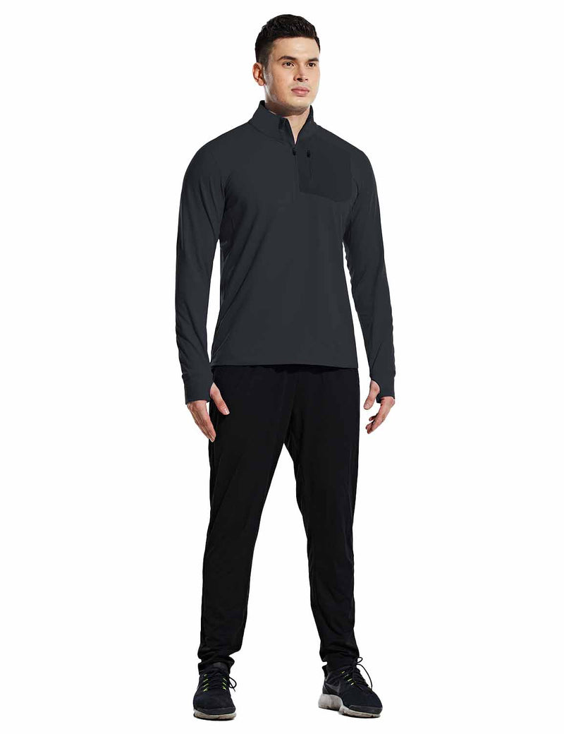 Baleaf Mens Windproof Micro Fleece High Neck 1/2 Zipper Pocketed Pullover Black Full