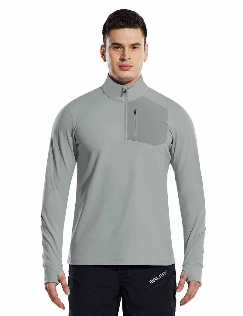 Baleaf Mens Windproof Micro Fleece High Neck 1/2 Zipper Pocketed Pullover Gray Front