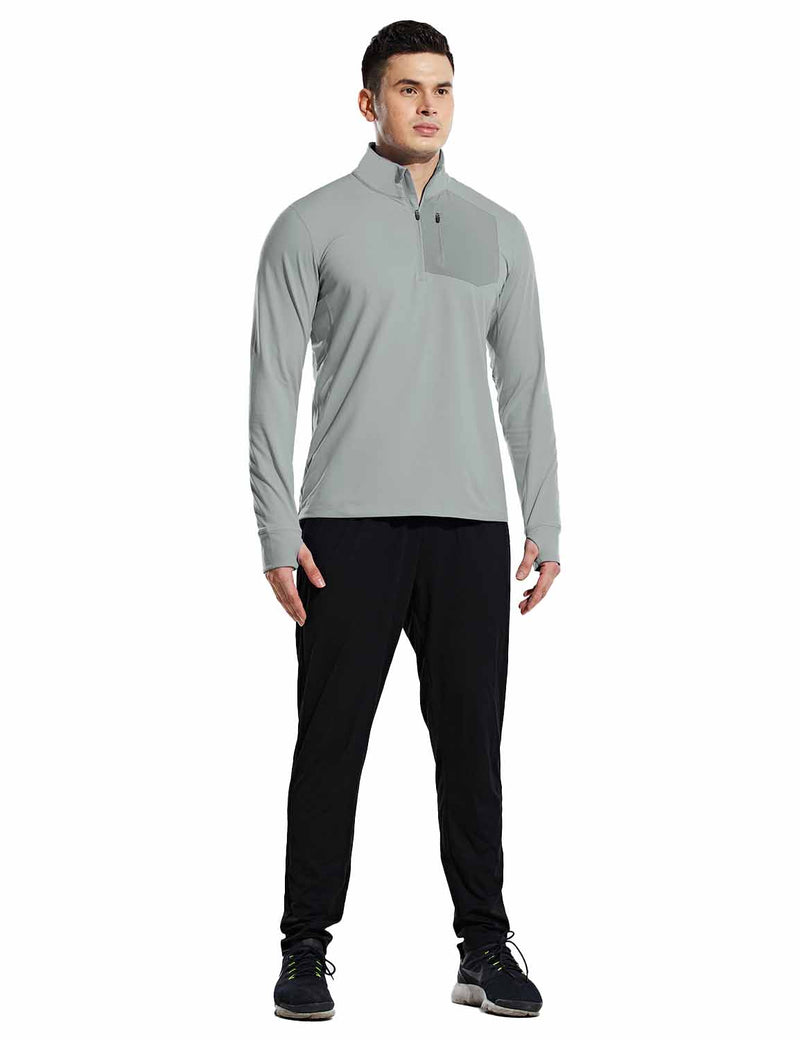 Baleaf Mens Windproof Micro Fleece High Neck 1/2 Zipper Pocketed Pullover Gray Full