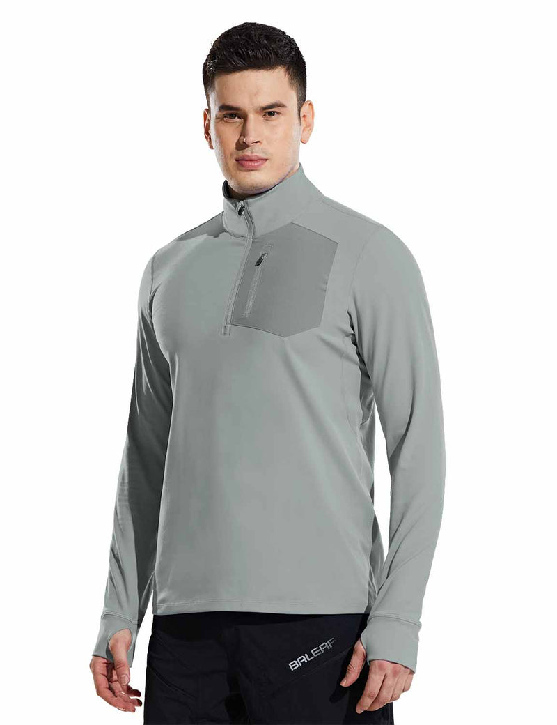 Baleaf Mens Windproof Micro Fleece High Neck 1/2 Zipper Pocketed Pullover Gray Side