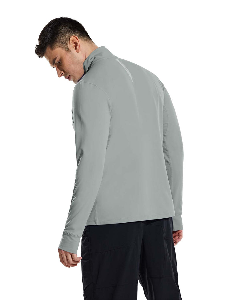 Baleaf Mens Windproof Micro Fleece High Neck 1/2 Zipper Pocketed Pullover Gray Back