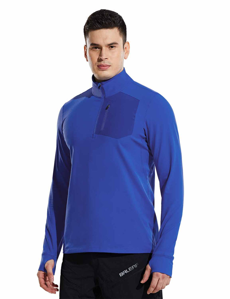 Baleaf Mens Windproof Micro Fleece High Neck 1/2 Zipper Pocketed Pullover Sky Blue Side
