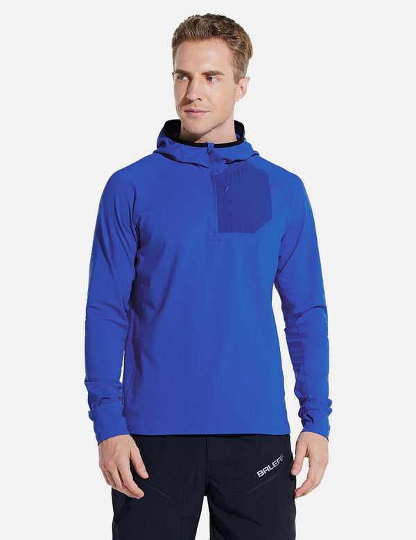 Baleaf Mens Fleece Thermal Raglan Half Zip Pocketed Hoodie w Thumbholes Blue Front