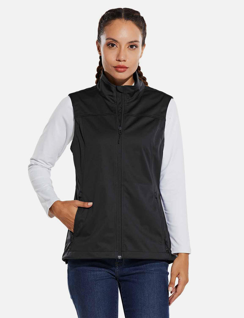 Baleaf Womens Windproof & Waterproof Sleeveless Vest w Full Zip Pocket Black front
