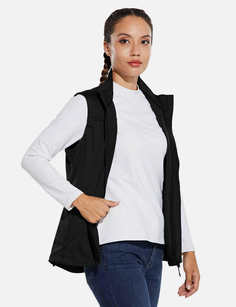 Baleaf Womens Windproof & Waterproof Sleeveless Vest w Full Zip Pocket Black side