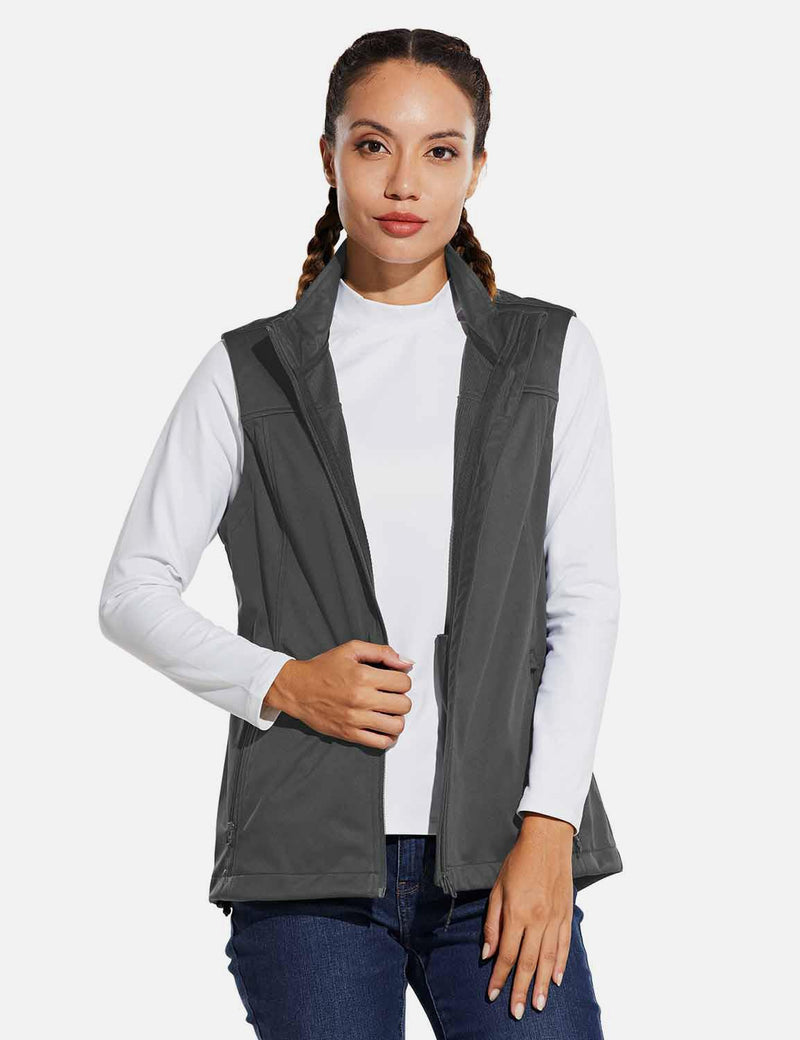 Baleaf Womens Windproof & Waterproof Sleeveless Vest w Full Zip Pocket Gray front