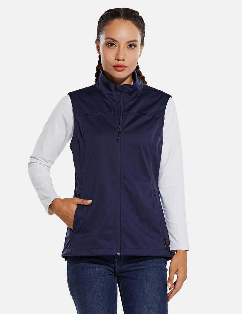 Baleaf Womens Windproof & Waterproof Sleeveless Vest w Full Zip Pocket Navy Blue front