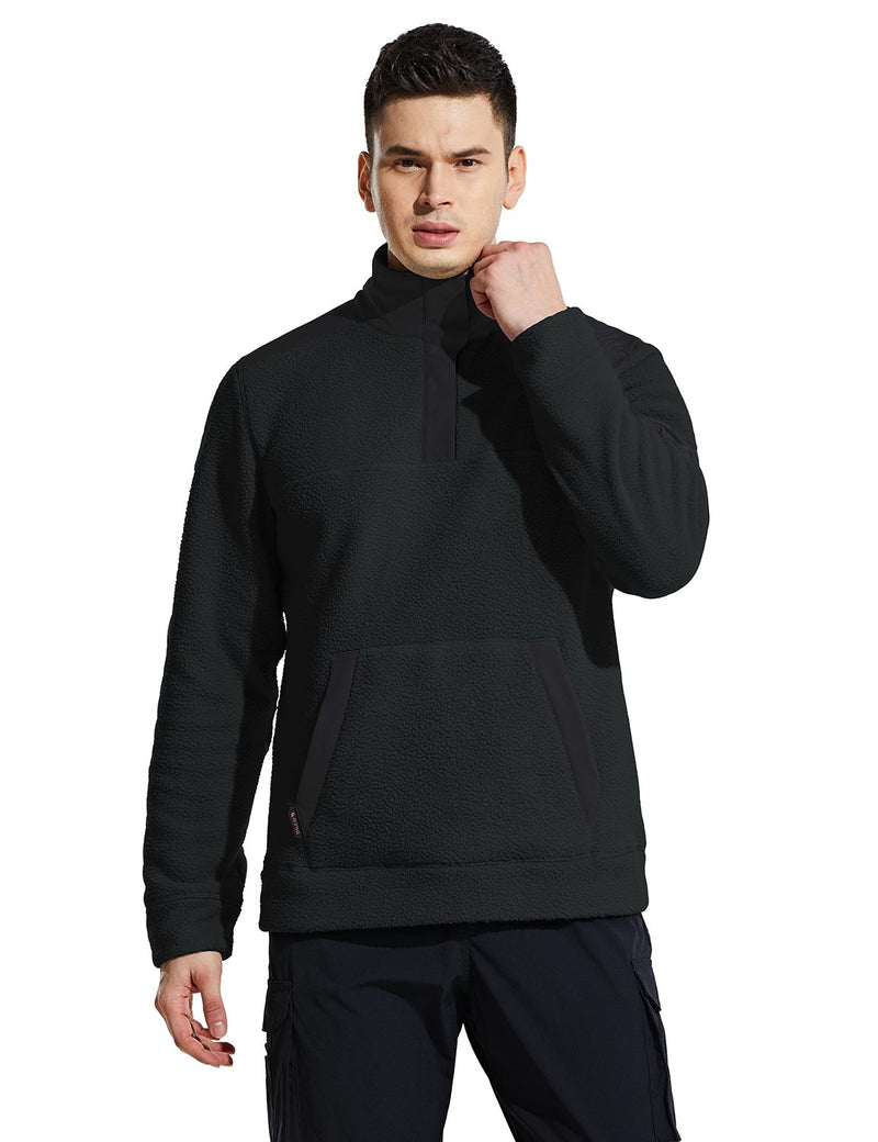 Baleaf Mens Casual Cozy Pocketed Sherpa Pullover Black Front