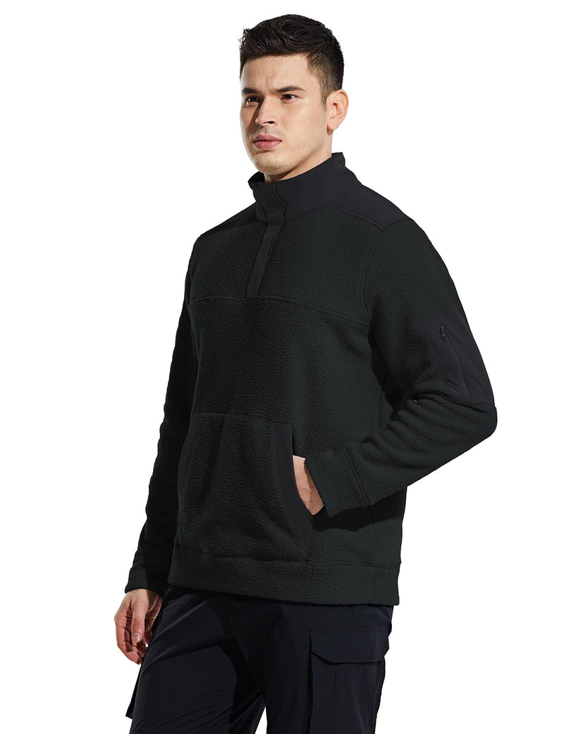 Baleaf Mens Casual Cozy Pocketed Sherpa Pullover Black Side