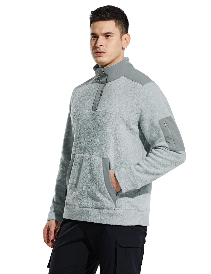 Baleaf Mens Casual Cozy Pocketed Sherpa Pullover Gray Side