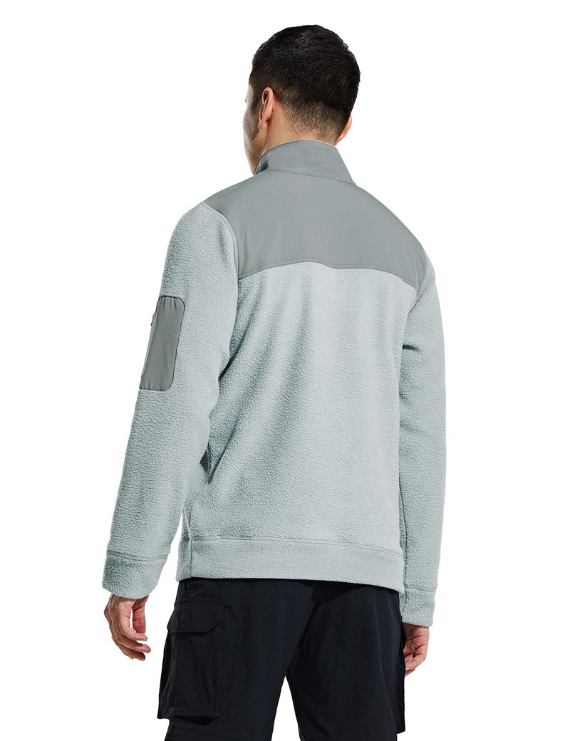 Baleaf Mens Casual Cozy Pocketed Sherpa Pullover Gray Back