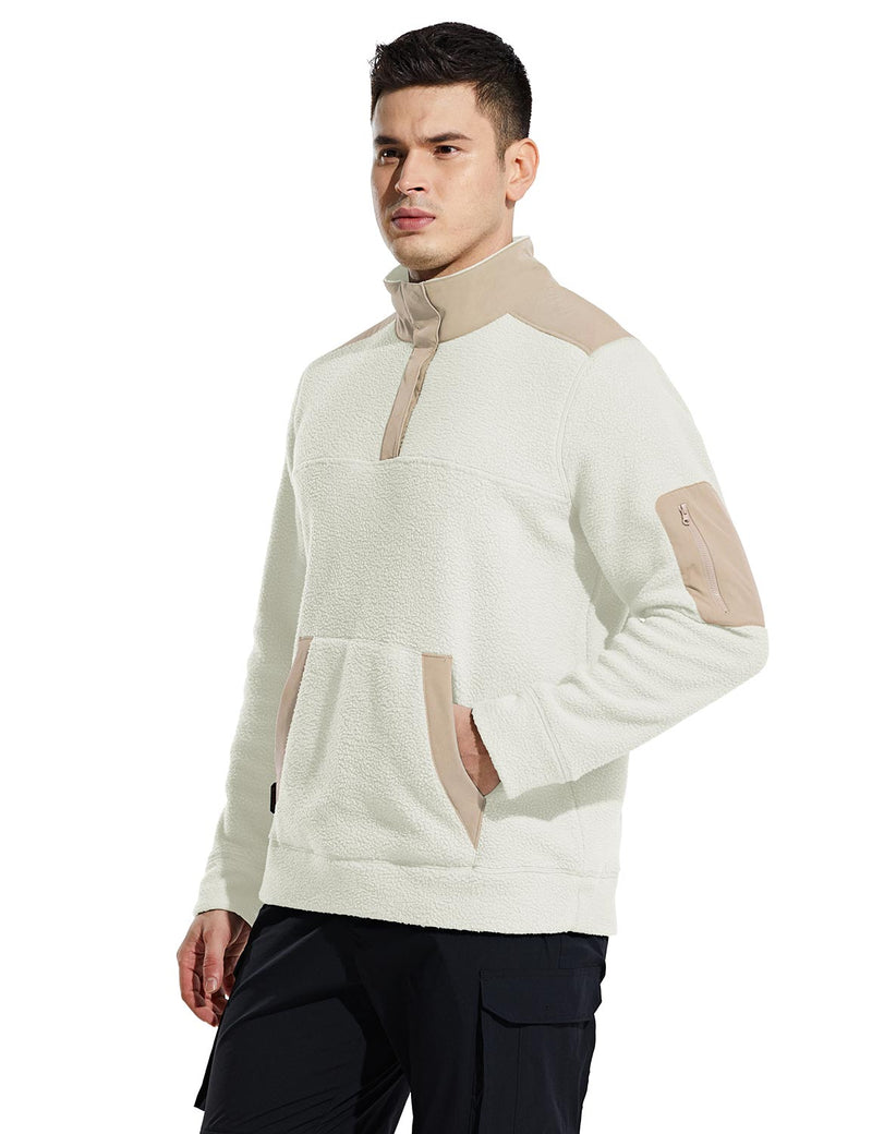 Baleaf Mens Casual Cozy Pocketed Sherpa Pullover Milky White Side