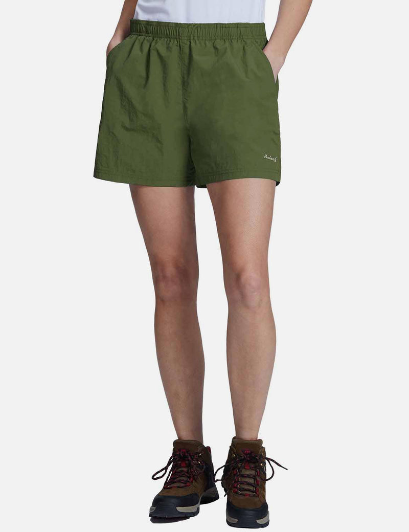 Baleaf Womens UPF50+ Casual Loose Fit Pocketed Shorts Army Green front