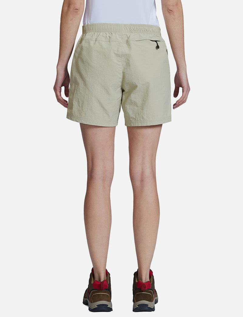 Baleaf Womens UPF 50+ Casual Loose Fit Shorts khaki back