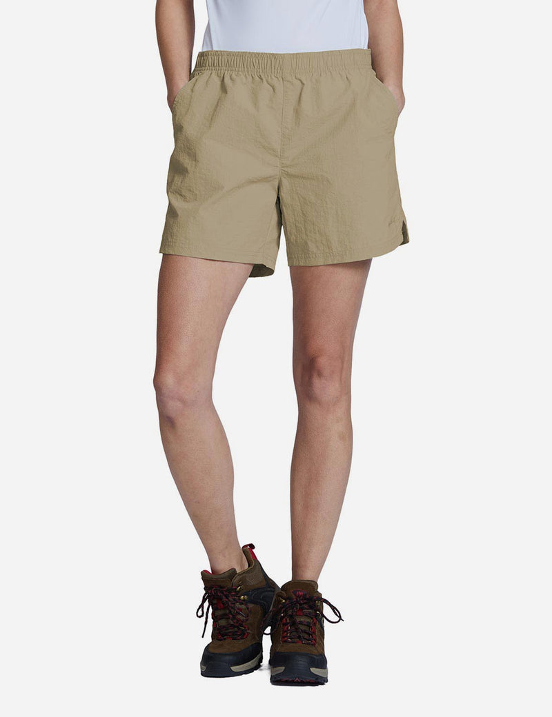Baleaf Womens UPF50+ Casual Loose Fit Pocketed Shorts Deep Khaki side