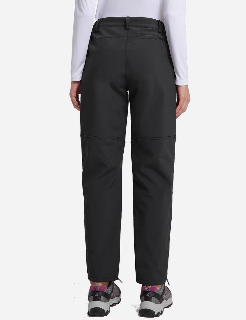Baleaf womens Fleece DWR Articulated Pants black back