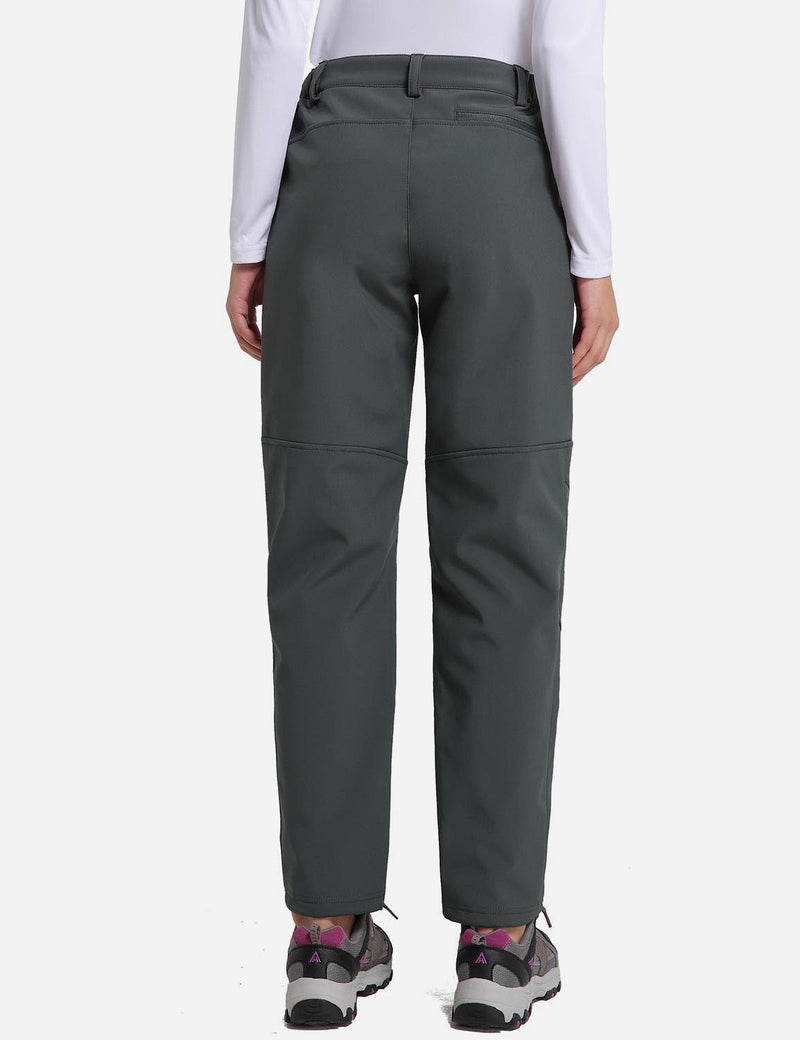 Baleaf womens Fleece DWR Articulated Pants grey back