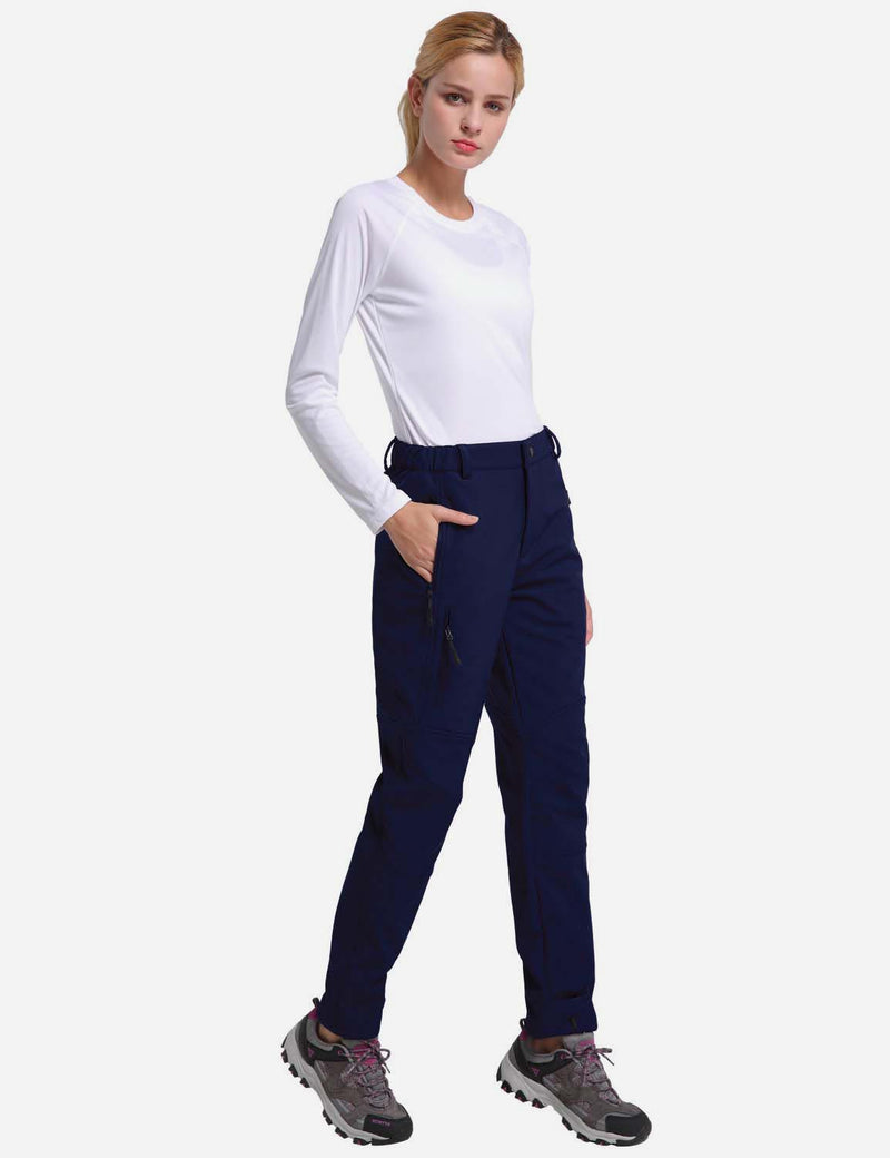 baleaf womens Fleece DWR Articulated Pants blue full