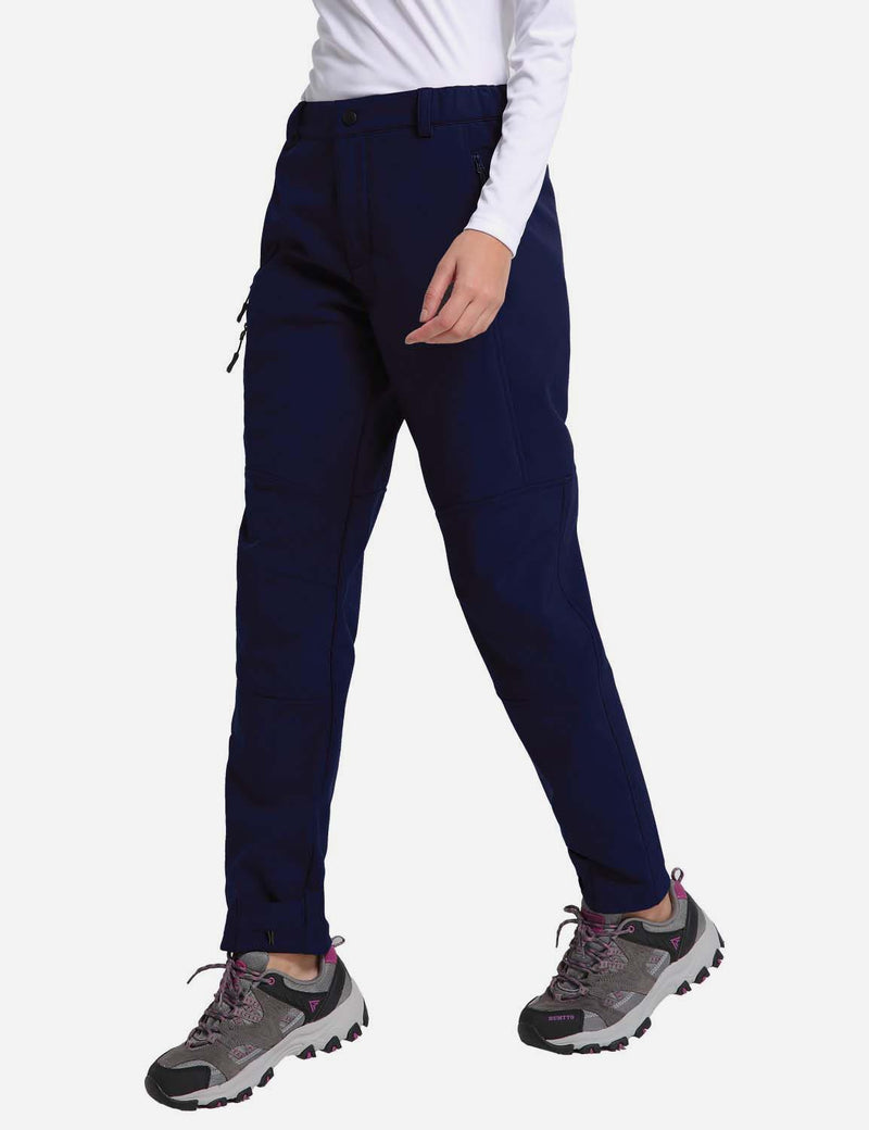 baleaf womens Fleece DWR Articulated Pants blue side