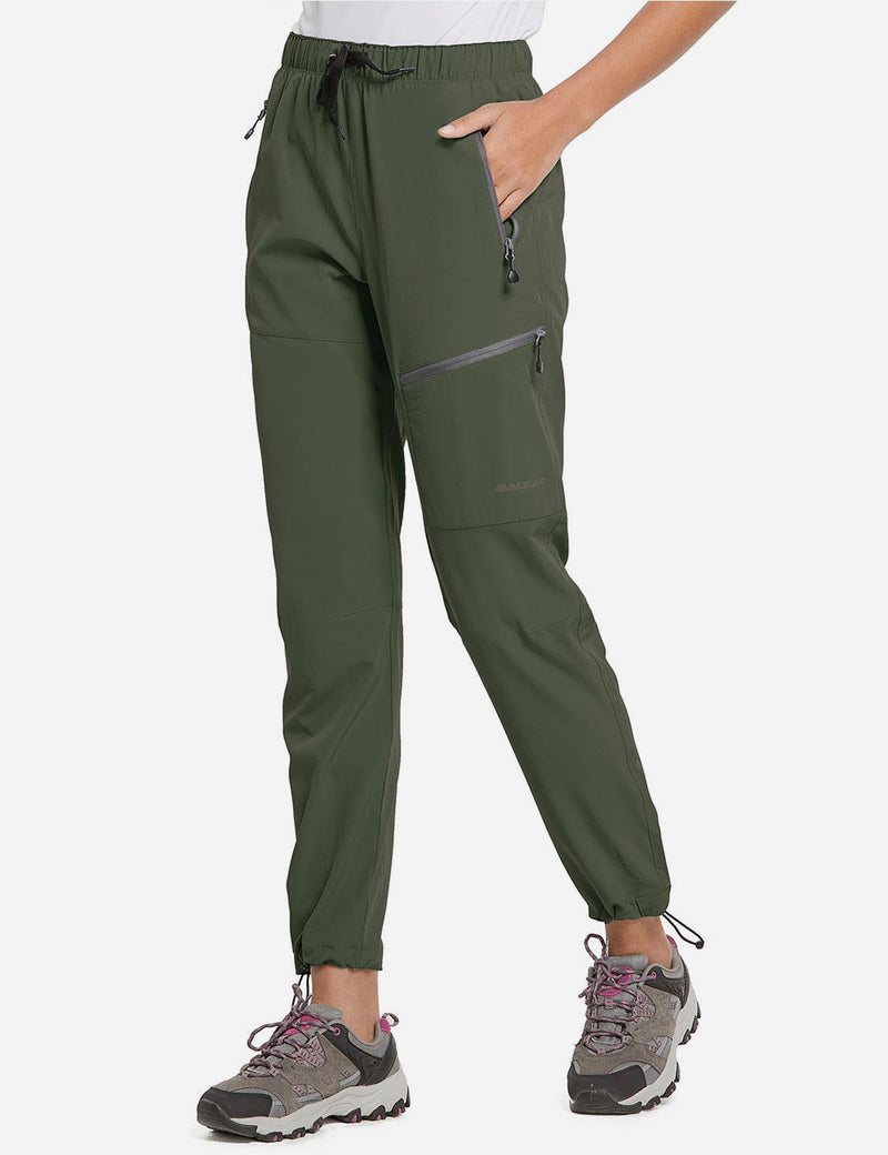 Baleaf Womens UPF50+ Lightweight DWR Outdoor Mountaineering Pants Army Green Side