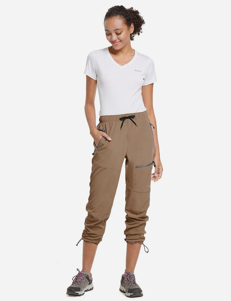Baleaf Womens UPF50+ Lightweight DWR Outdoor Mountaineering Pants Brown Full