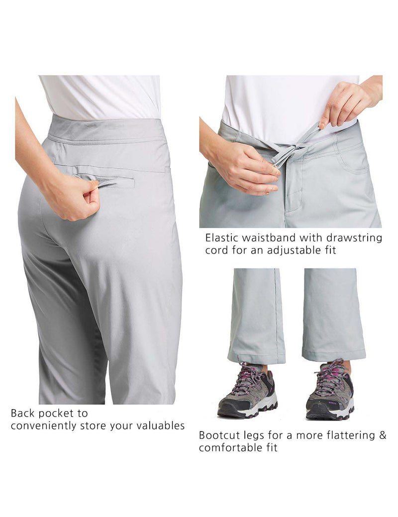 Baleaf Womens UPF50+ Mid Rise Bootleg Waterproof Pocketed Outdoor Pants Gray details