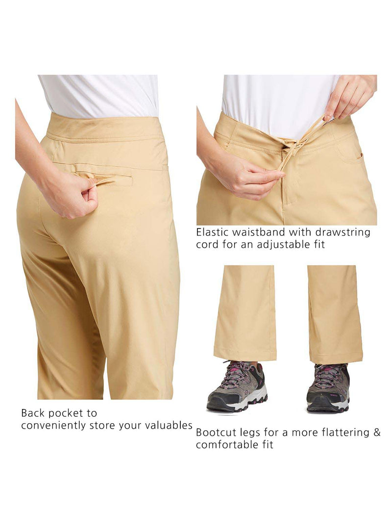 Baleaf Womens UPF50+ Mid Rise Bootleg Waterproof Pocketed Outdoor Pants Khaki details