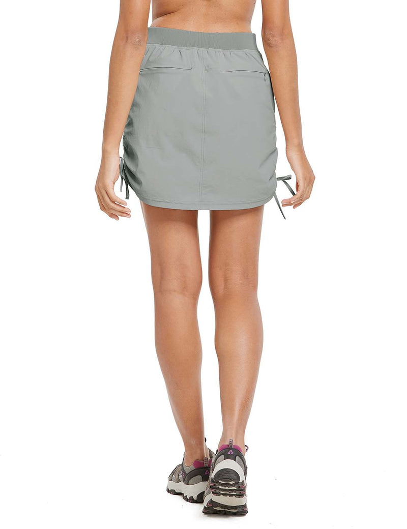 Baleaf Womens UPF50+ High-Rise 2-in-1 Adjustable Outdoor Skirt Gray back