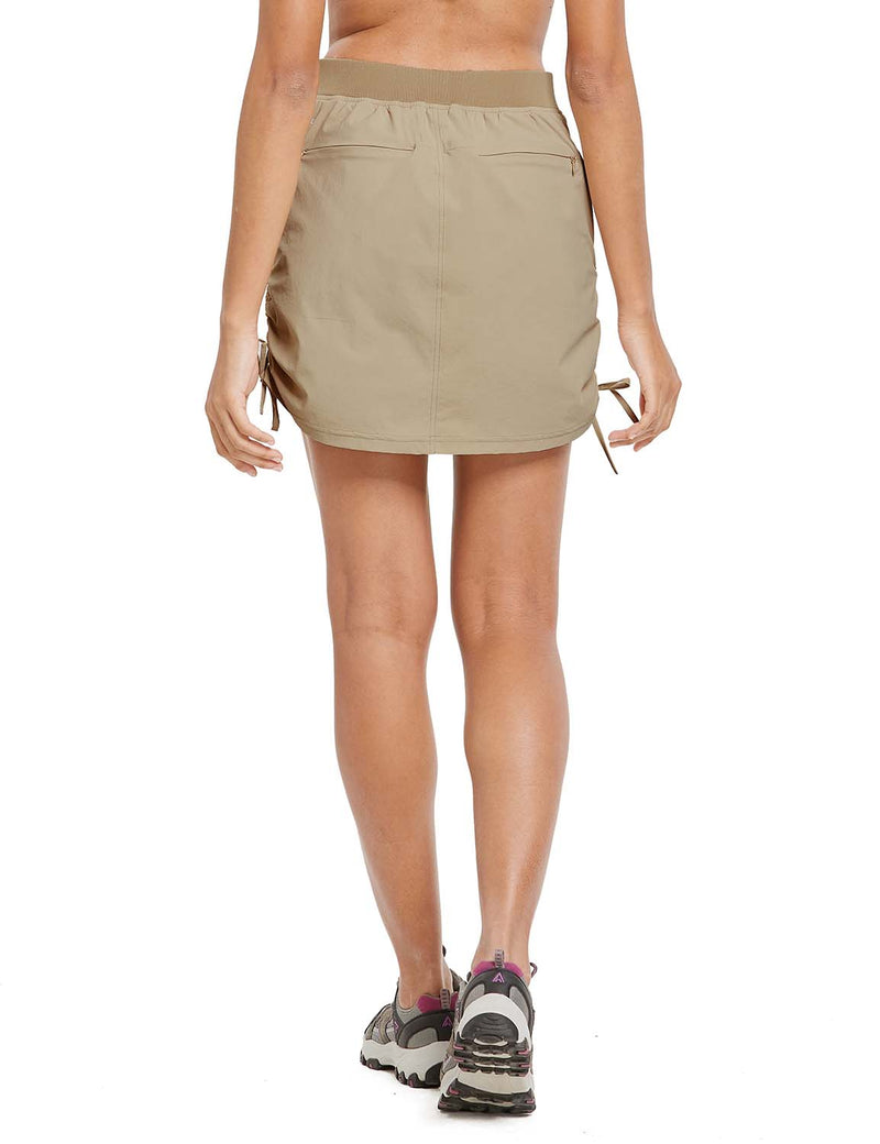 Baleaf Womens UPF50+ High-Rise 2-in-1 Adjustable Outdoor Skirt Khaki back