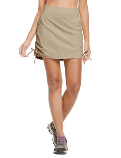 Baleaf Womens UPF50+ High-Rise 2-in-1 Adjustable Outdoor Skirt Khaki front