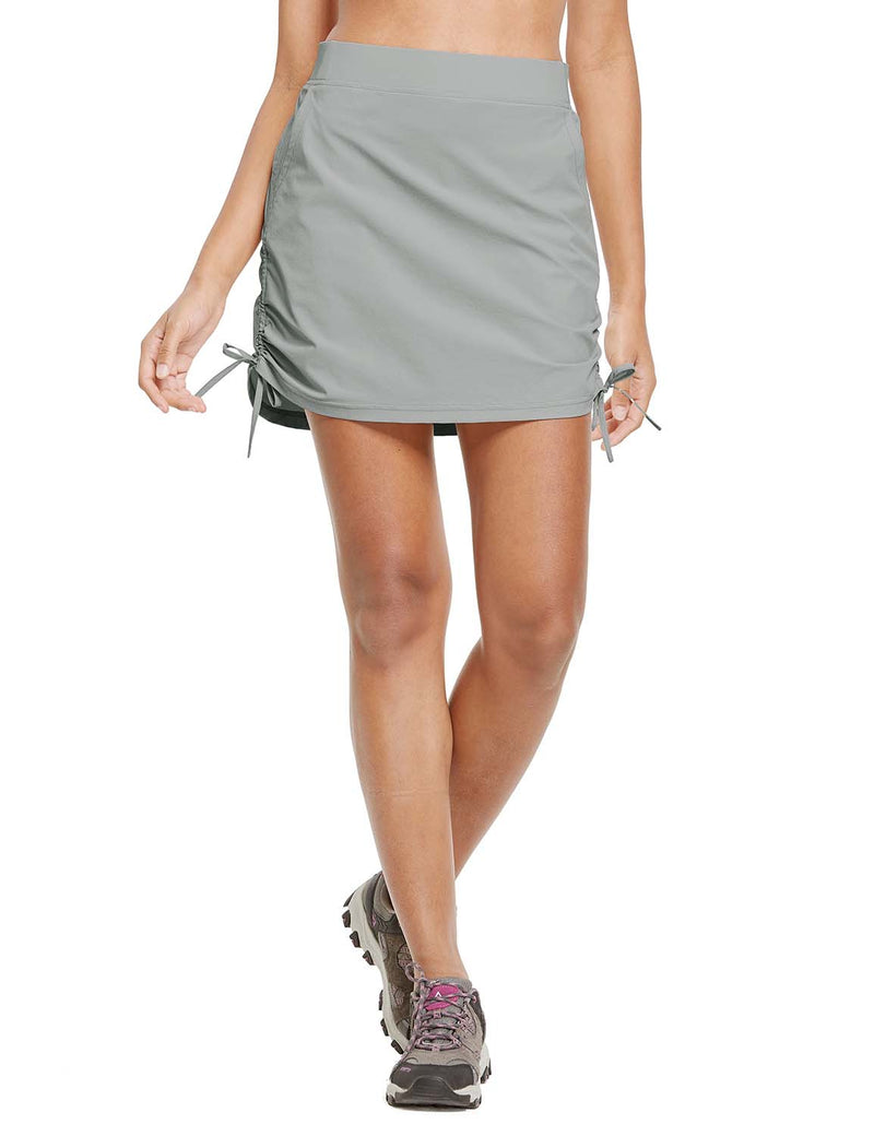 Baleaf Womens UPF50+ High-Rise 2-in-1 Adjustable Outdoor Skirt Gray front