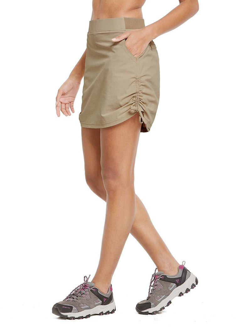Baleaf Womens UPF50+ High-Rise 2-in-1 Adjustable Outdoor Skirt Khaki side