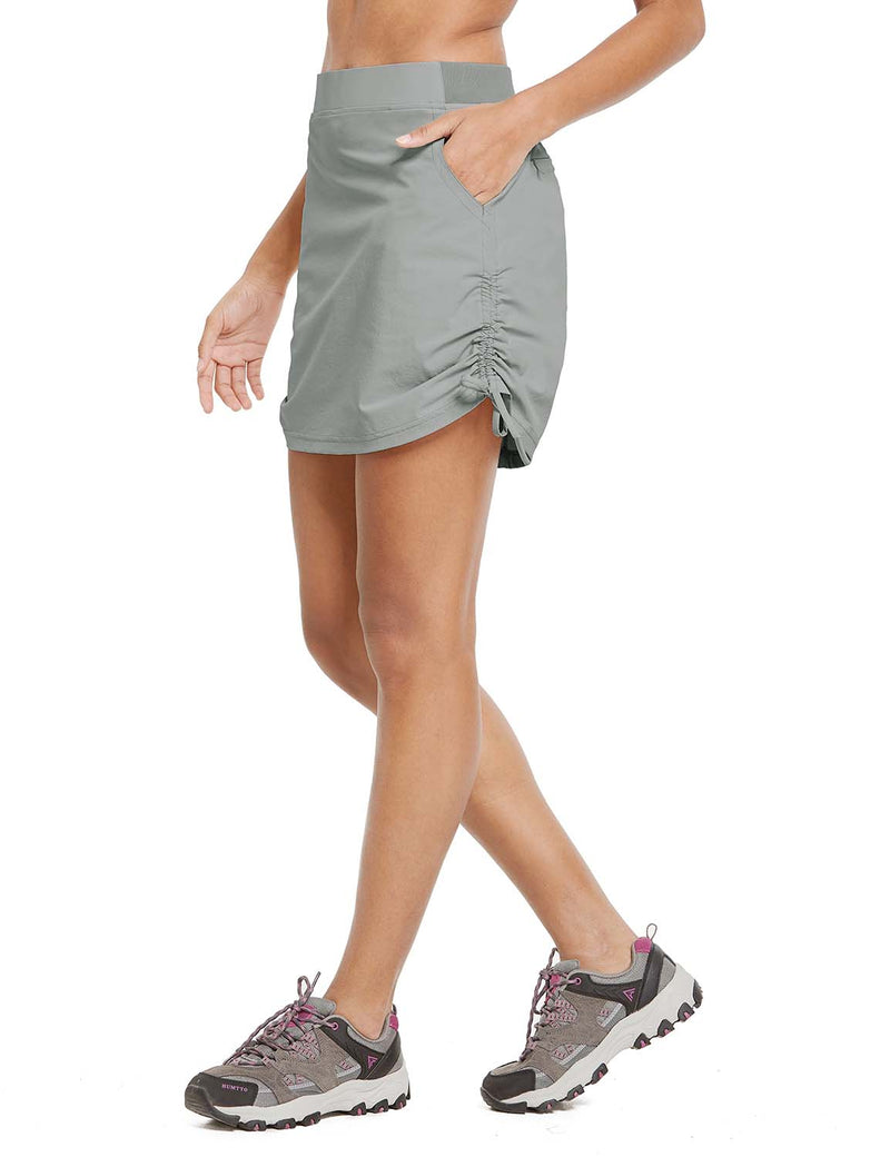 Baleaf Womens UPF50+ High-Rise 2-in-1 Adjustable Outdoor Skirt Gray side